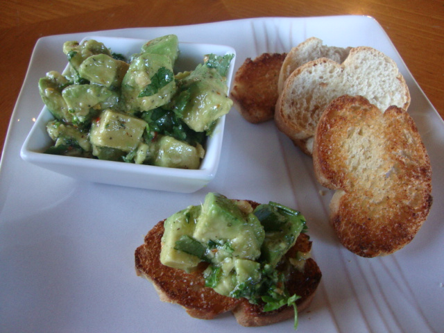 Avocado Chimichurri Bruschetta -- Epicurean Vegan