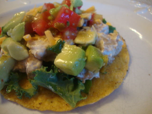 Seitan Tostadas with Avocado Dressing -- Epicurean Vegan