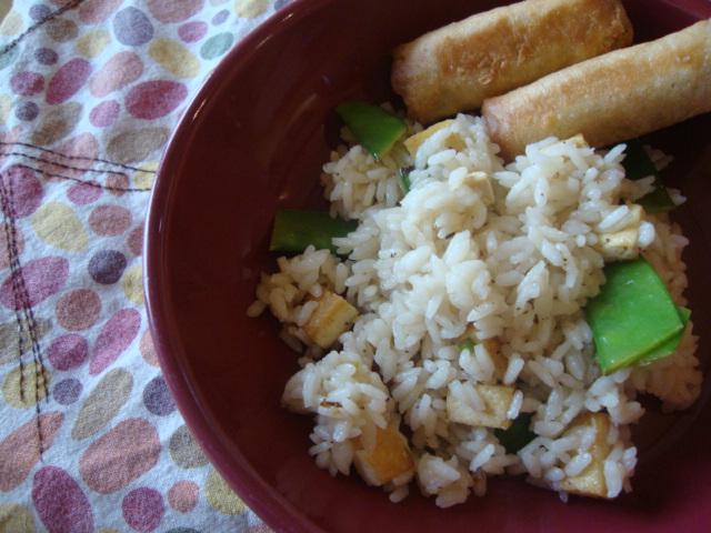 Green Tea Rice with Lemon, Snowpeas and Tofu