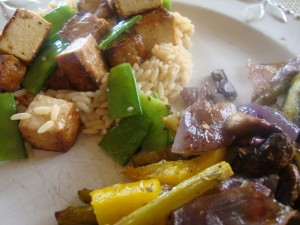 Roasted Veggies and Baked Tofu with Sesame-Ginger Rice -- Epicurean Vegan