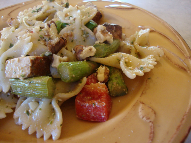 Baked Tofu and Roasted Asparagus Pasta Salad -- Epicurean Vegan