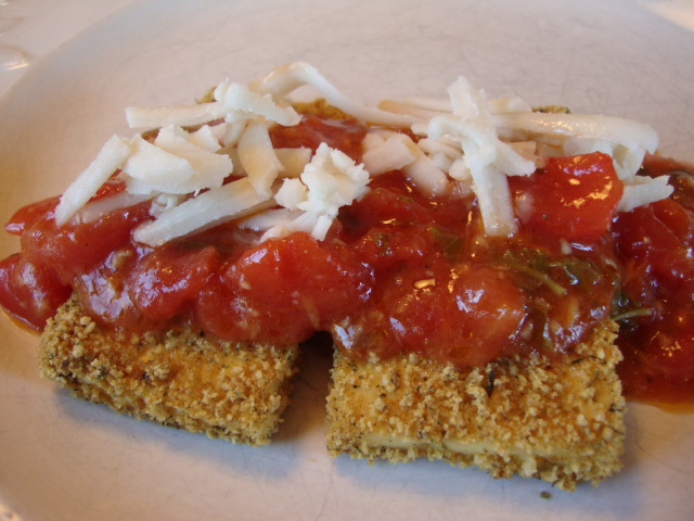 Breaded Tofu with Lemony Tomato Sauce -- Epicurean Vegan