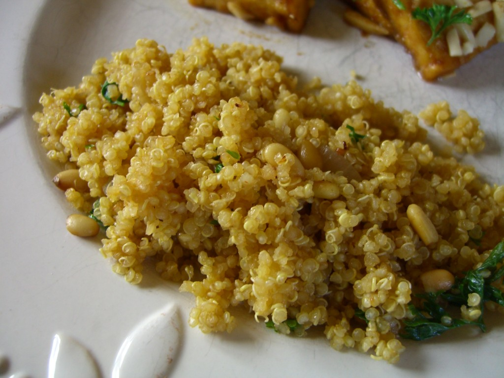 Quinoa with Shallots and Pine Nuts -- Epicurean Vegan