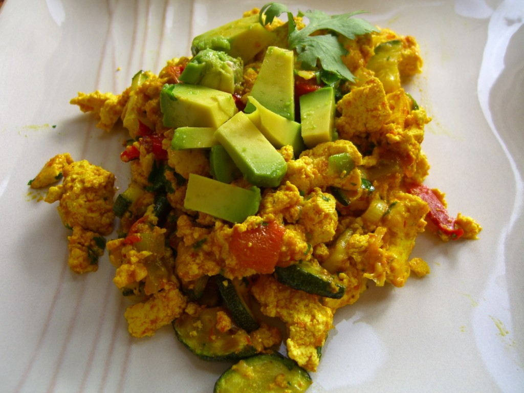 Zucchini-Tofu Scramble with Roasted Red Peppers -- Epicurean Vegan