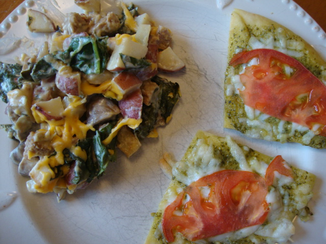 Potato-Spinach Bake and Pesto Pizzas -- Epicurean Vegan