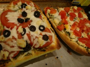 Pesto and Almond Feta Pizza -- Epicurean Vegan