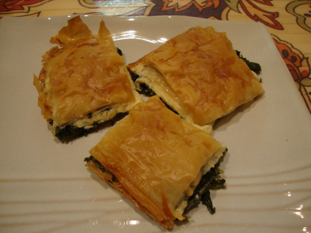 Mustard Green and Cheeze Filo Pie -- Epicurean Vegan
