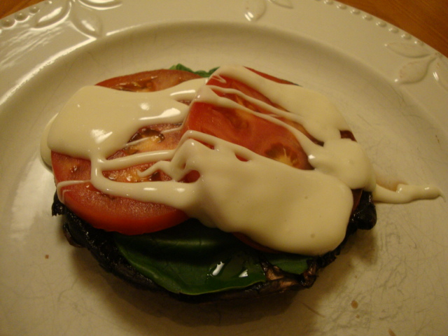 Portobellos with Tomatoes and Truffle Cheeze Sauce -- Epicurean Vegan