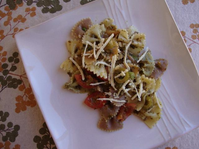 Pesto and Green Olive Pasta Salad -- Epicurean Vegan