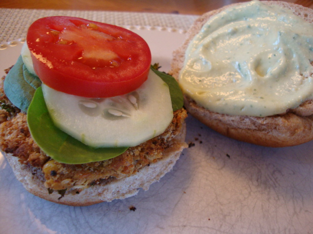 Chickpea Burgers with Ricotta Sauce