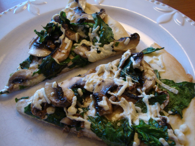 Mushroom and Spinach Pizza with Truffle Oil -- Epicurean Vegan