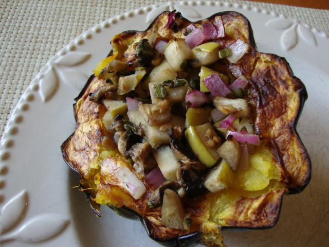 Acorn Squash Stuffed with Apples, Mushrooms and Sage