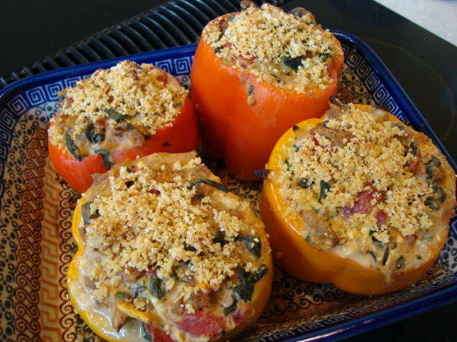 Stuffed Bell Peppers with Field Roast, Ricotta and Spinach -- Epicurean Vegan