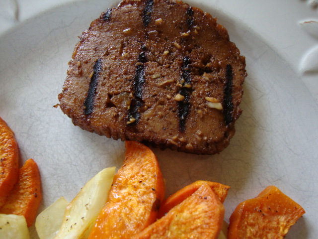 Marinated and Grilled Field Roast with Baked Fries -- Epicurean Vegan