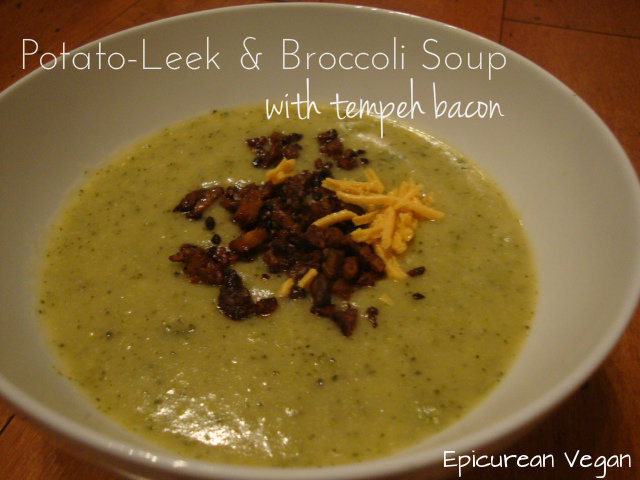 Potato-Leek & Broccoli Soup with tempeh bacon