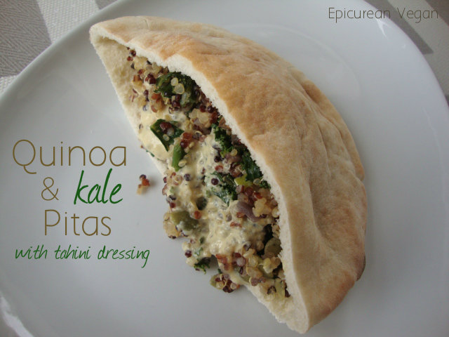 Quinoa and Kale Pitas with Tahini Dressing -- Epicurean Vegan