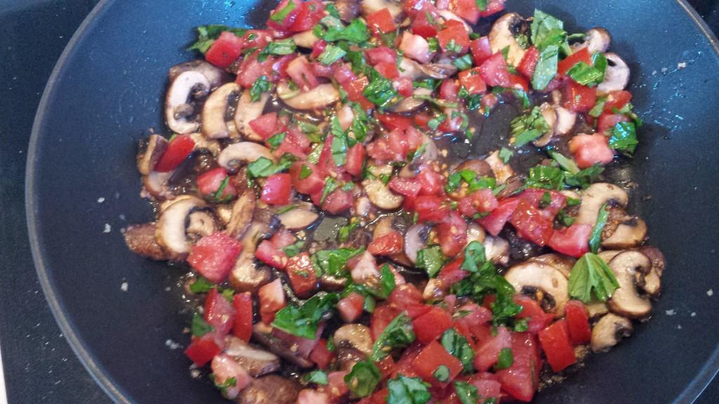 Pine Nut and Cashew Ravioli with Fresh Mushrooms, Tomatoes and Basil -- Epicurean Vegan