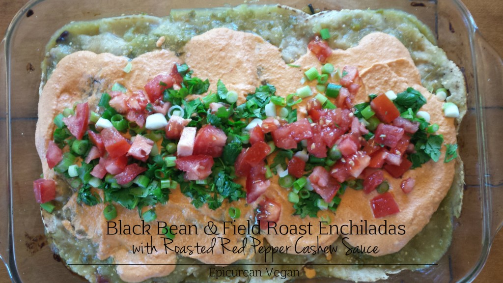Black Bean and Field Roast Enchiladas with Roasted Red Pepper Cashew Sauce -- Epicurean Vegan