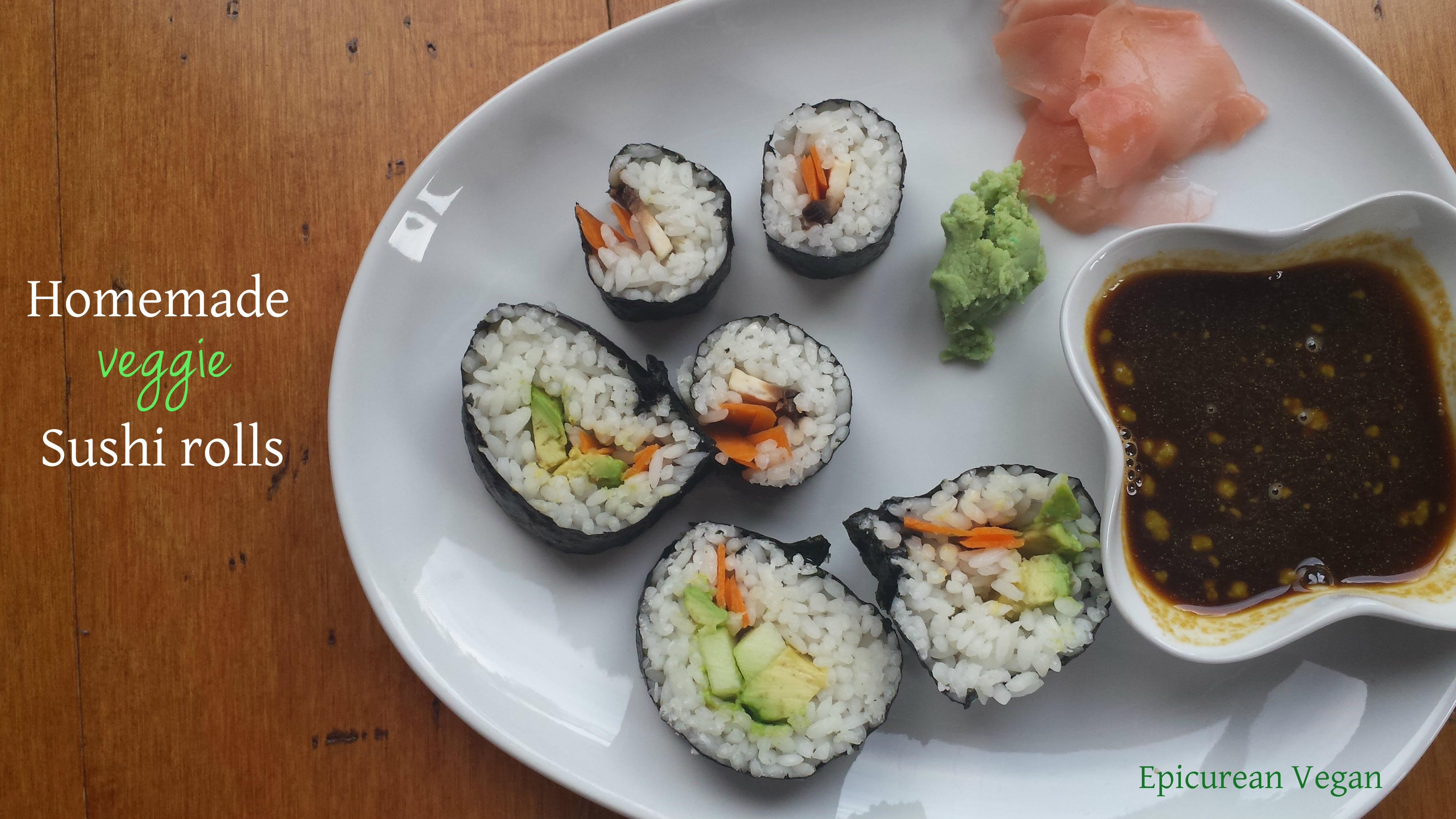 Homemade Veggie Sushi Rolls -- Epicurean Vegan