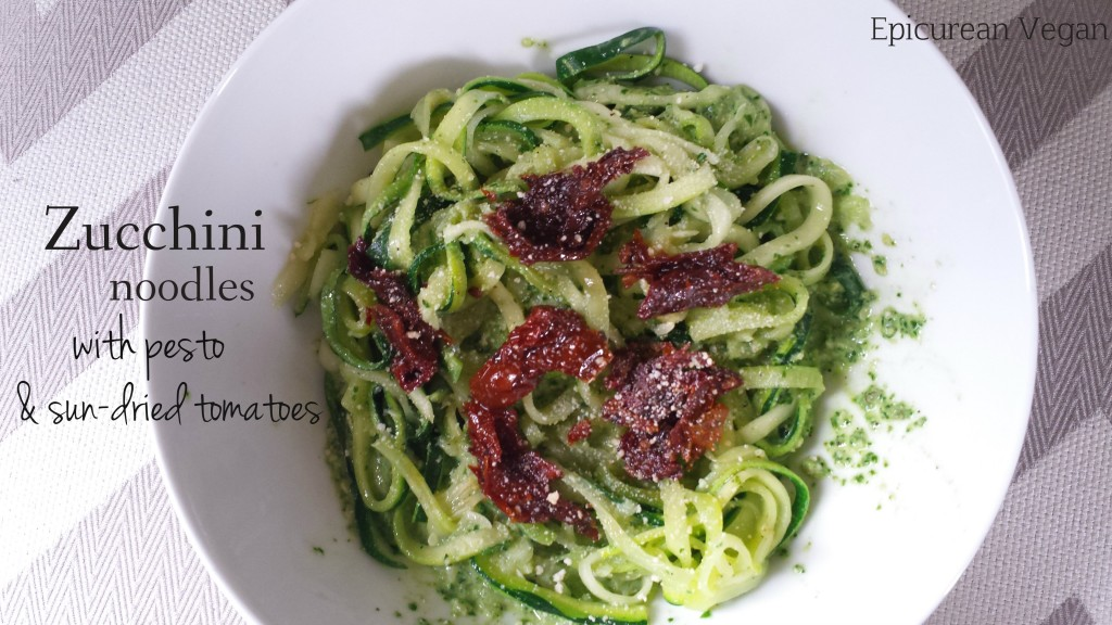 Zucchini Noodles with Pesto & Sun-dried Tomatoes -- Epicurean Vegan