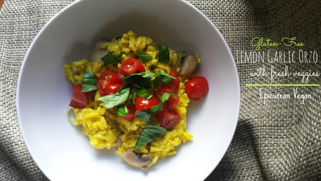 Gluten-Free Lemon Garlic Orzo with Fresh Veggies -- Epicurean Vegan