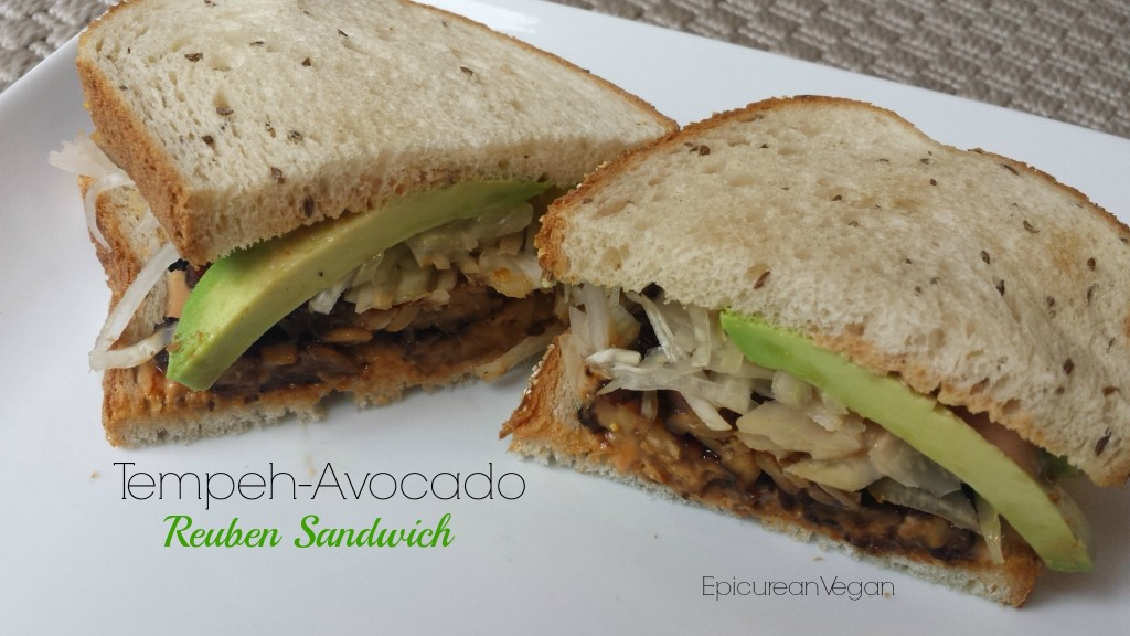 Tempeh-Avocado Reuben Sandwich -- Epicurean Vegan