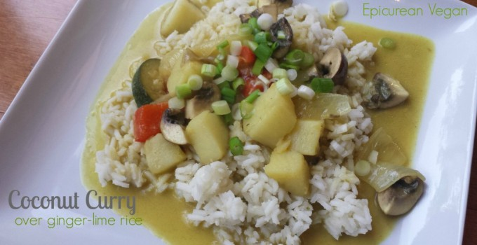 Coconut Curry Over Ginger-Lime Rice