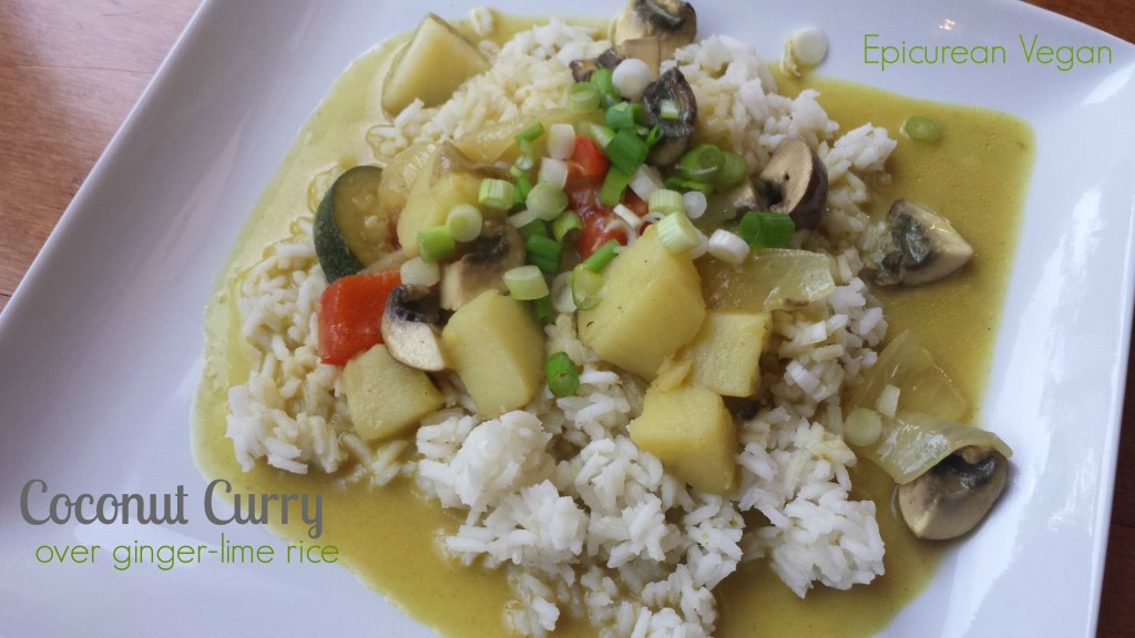 Coconut Curry Over Ginger-Lime Rice -- Epicurean Vegan
