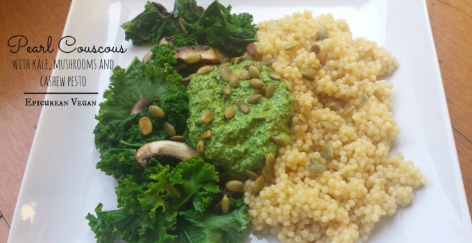 Pearl Couscous with Kale, Mushrooms and Cashew Pesto