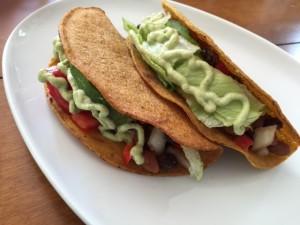 Bean and Avocado Tacos with Cilantro-Lime Cashew Sauce -- Epicurean Vegan