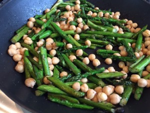 Sauteed Asparagus and Chickpeas Over Herbed Brown Rice -- Epicurean Vegan