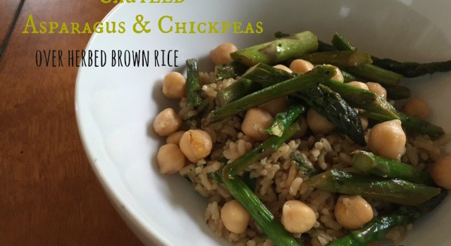Sauteed Asparagus & Chickpeas Over Herbed Brown Rice