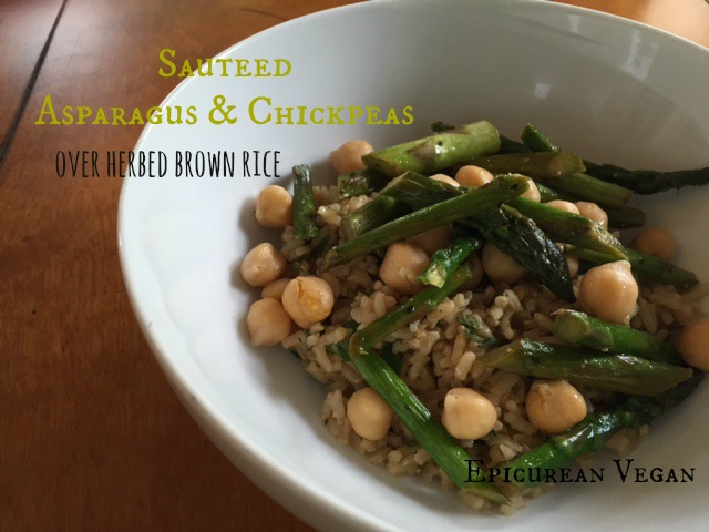 Sauteed Asparagus and Chickpeas Over Herbed Brown Rice -- Epicurean ...