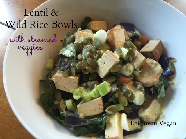 Lentil and Wild Rice Bowls with Steamed Veggies 2 -- Epicurean Vegan