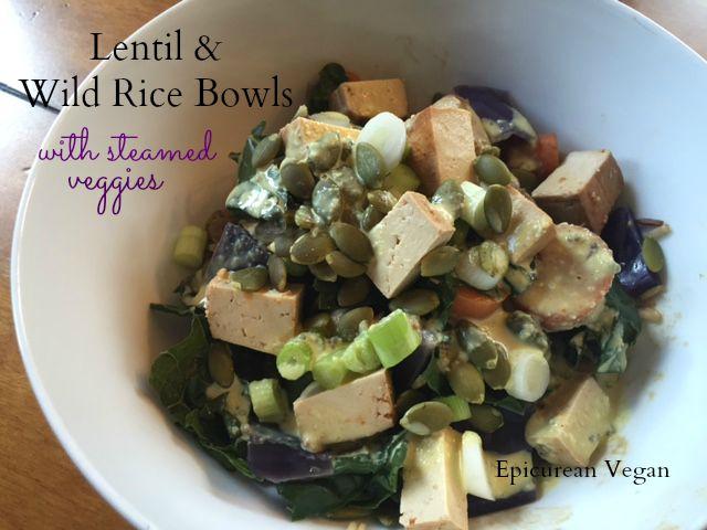 Lentil and Wild Rice Bowls with Steamed Veggies 2 -- Epicurean Vegan