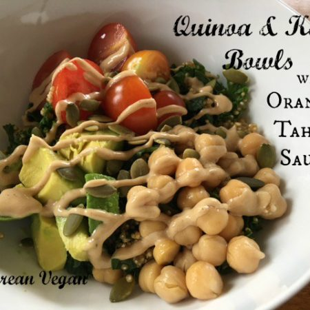 Quinoa & Kale Bowls with Orange-Tahini Sauce -- Epicurean Vegan