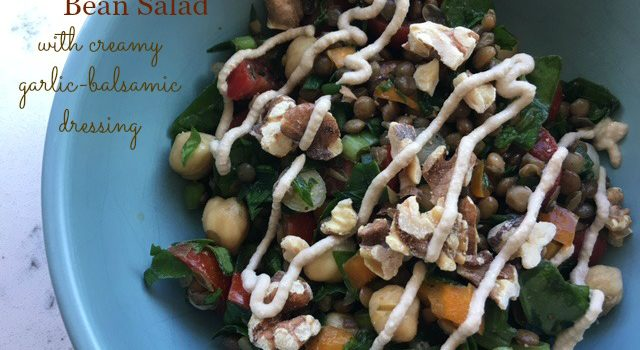 Lentil-Garbanzo Bean Salad with Creamy Garlic-Balsamic Dressing
