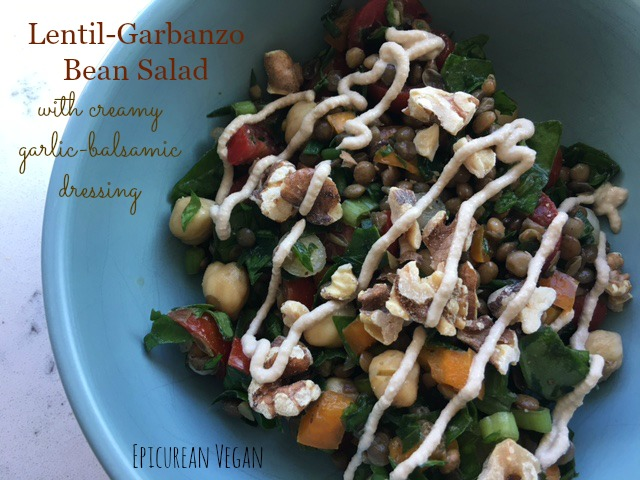 Lentil-Garbanzo Bean Salad with Creamy Garlic-Balsamic Dressing -- Epicurean Vegan