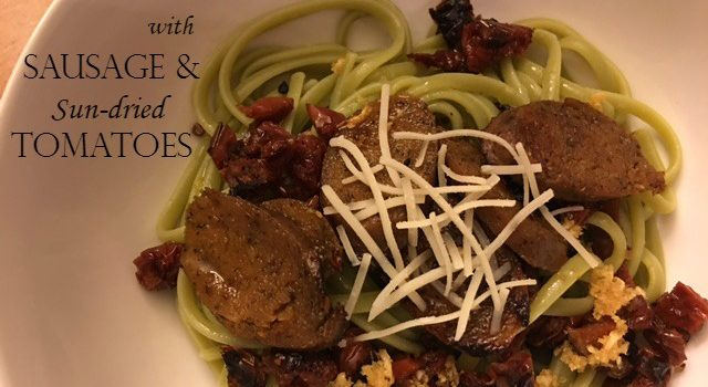 Spinach Linguine with Sausage & Sun-dried Tomatoes